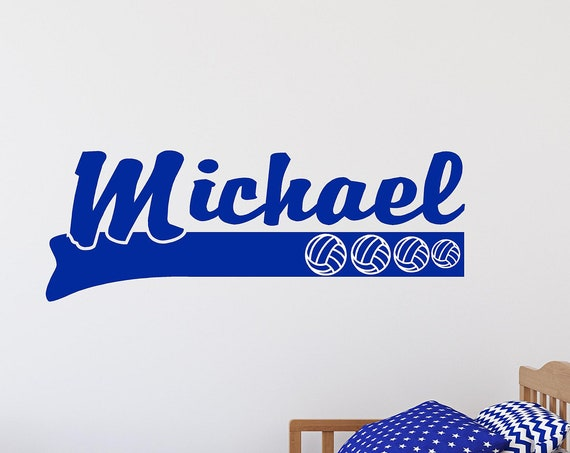 Kids Decals-Custom Name with Volleyballs-Boys Custom Name Decal-Sports name-Boys Nursery Decal-Girls Wall Decor-Sports Decor-Sports Theme