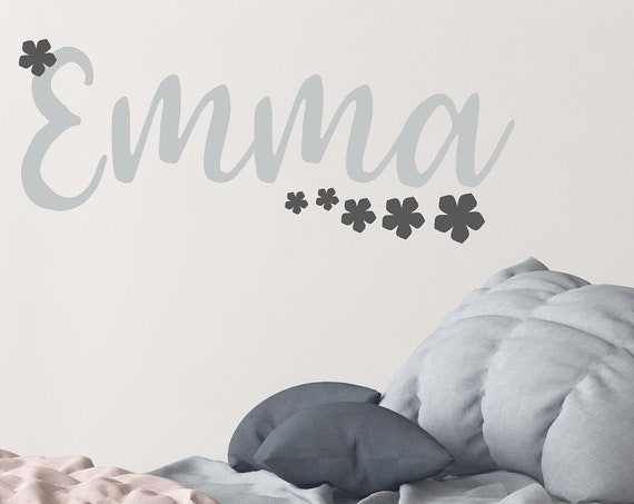 Girl Nursery Decal-Personalized Name Decal-Girls Name-Girls Bedroom Decor-Girls Vinyl Decal-Girls Wall Decor-Girls Monogram-Girls Gray