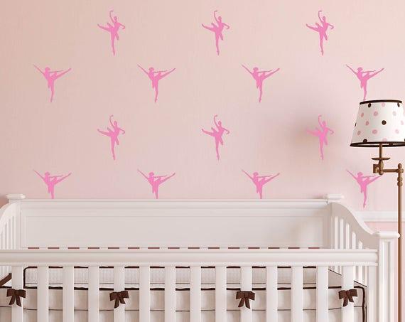 Mini Ballerinas, Ballerina wall decals, Girls Ballerina Mini Decals, Pink Dancing Ballerinas