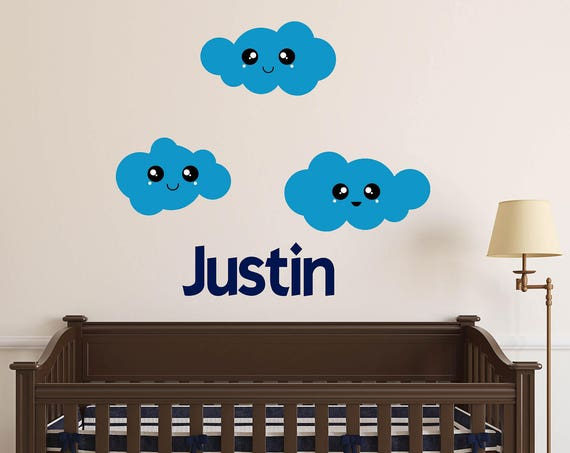 Clouds with Name-Kawaii Clouds-Kawaii faces-Personalized Girls Name Wall Decal-Custom Boys Name