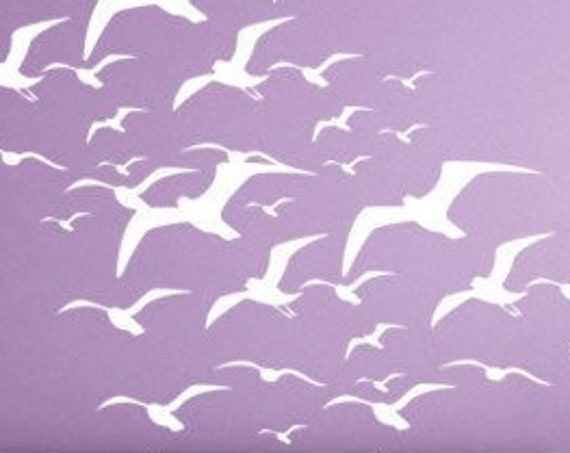 Flying Seagulls Wall Decal, Bird Decals, Seagulls Vinyl Wall Decal, Birds Flying, tropical beach stickers beach wall decals