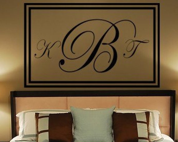 Vinyl Decal Wall Art Wedding Monogram Frame