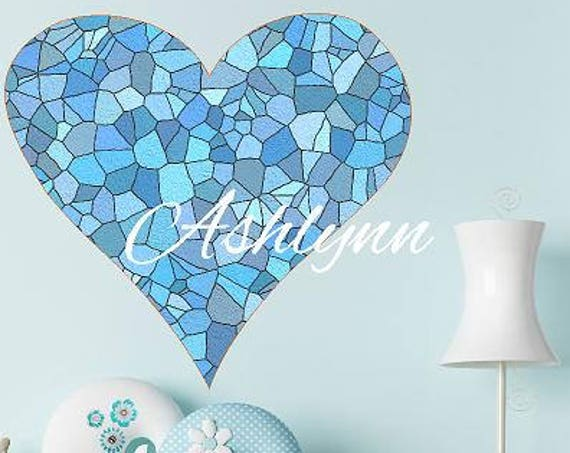 Stained Glass Blue Heart Decal, Blue Shades Tile Heart decal, Custom Name girls decal