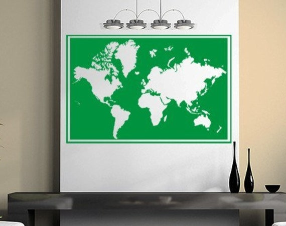 World Map Vinyl Framed Wall Decal, Seven Continents vinyl decal, Vinyl Decal Wall Art Sticker