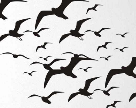 Flying Seagulls Wall Decal, Bird Decals, Seagulls Vinyl Wall Decal, Birds Flying, Tropical Beach Stickers, Beach Wall Decals