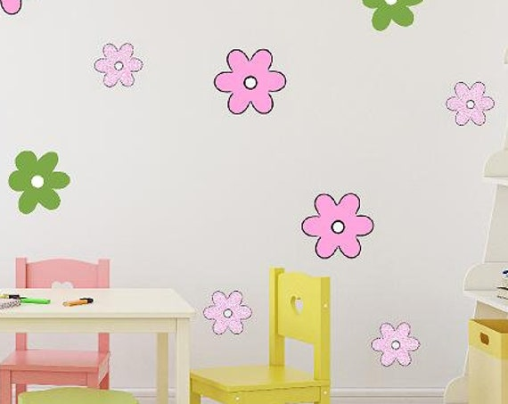Small Flowers Wall Decal-Stylized Flower Decals-Girls Wall Decor-Girls Vinyl Decals-Cartoon Flowers-Comic Flower Outlines
