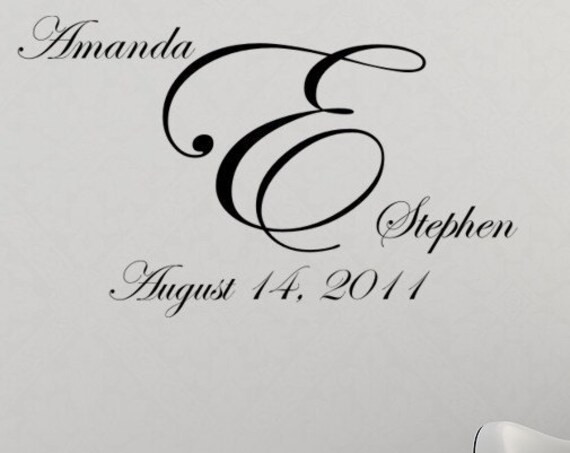 Wedding Monogram Vinyl Decal with Wedding Date-Wedding Decorations-Wedding Gifts-Engagement Gifts-Reception Decorations-Wedding Sign