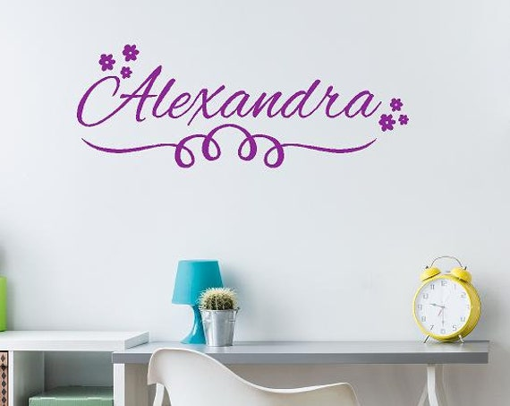 Girls Floral Name Decal