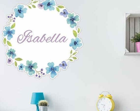 Watercolor Floral Circle Decal With Personalized Name, Water Color Printed Wreath Wall Decal, Pink Watercolor Wreath with Personalized Name