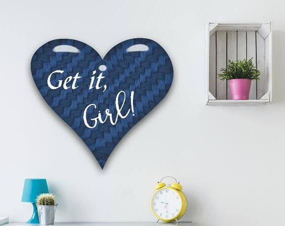 Blue Denim Heart Decal-Get it Girl Wall Decal-Custom Name Vinyl Decal, Custom Name girls decal, Personalized Name wall decal