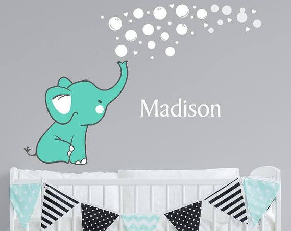 Elephant blowing bubbles wall decal with custom name