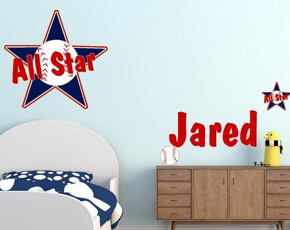 All Star Wall Decal, Baseball decal, Custom Name Decal, Personalized Name Wall Decal, All American past time decor