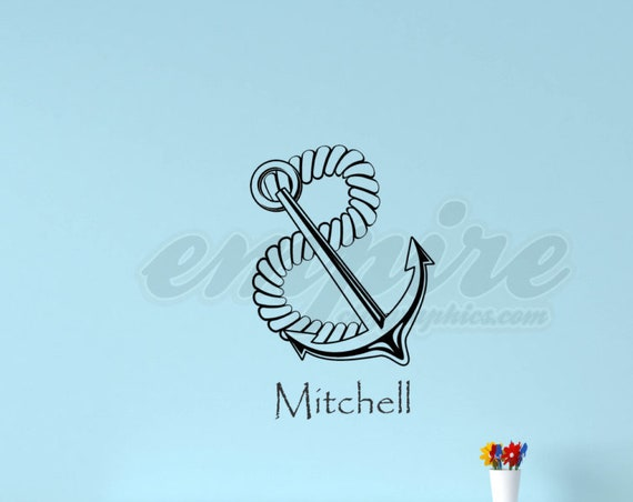 Nautical decals, Anchor Decal, Name decals, Boys name decals, Nautical anchor decals, Nautical wall decor, Anchor and rope