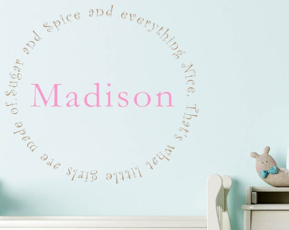 Sugar and Spice that's what girls are made of personalized name decal, Girls Name Decals, nursery wall decals, custom girls name decals