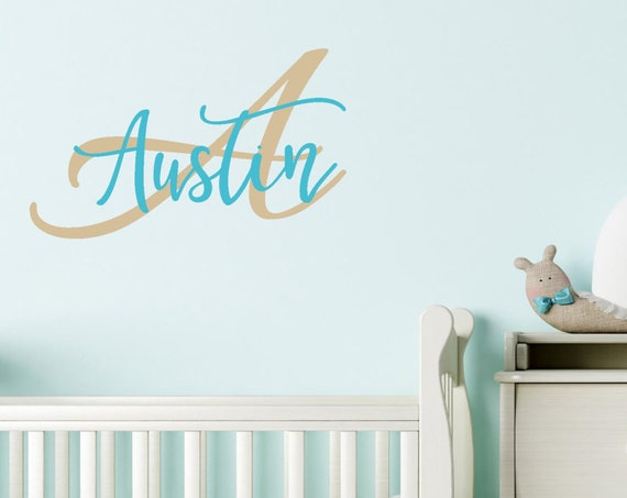 Custom Name Decal, Personalized Name and Initial Nursery Wall Decal, Modern Name Decal, Monogram Decals