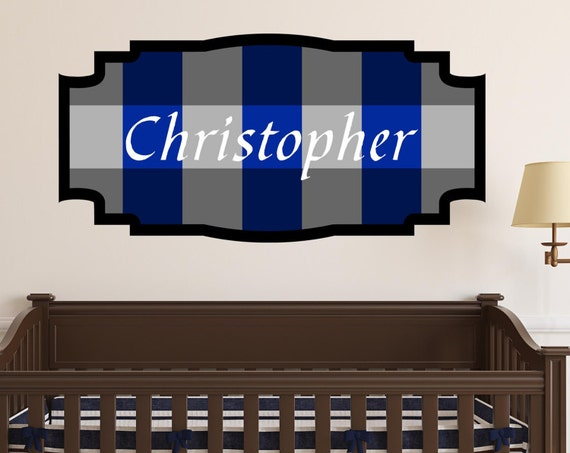 Blue Gingham Check Custom Name Decal, Framed Custom Nursery Decal, Personalized Boys Name Checkered Wall Decal, Monogram decal