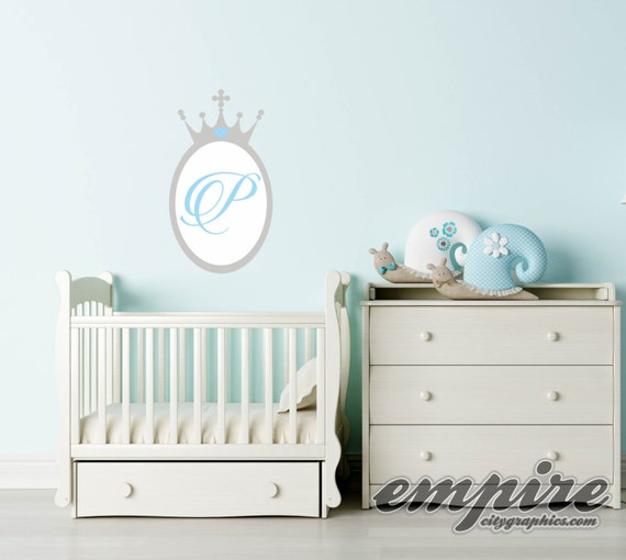 Princess Crown Mirror Decal, Princess Monogram, Crown Monogram Decal, Personalized Monogram Wall Decal