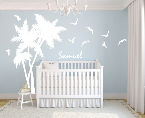 Palm Tree Decal Personalized Name Seagulls Birds Beach Tropical Baby Nursery Vinyl Wall Art