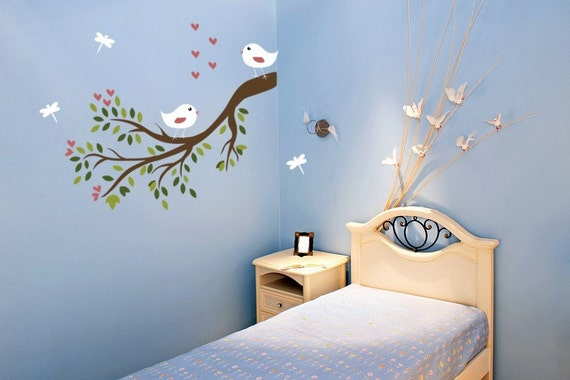 Nursery Wall Art Vinyl Decal Sticker Branch Leaves with Cute Birds