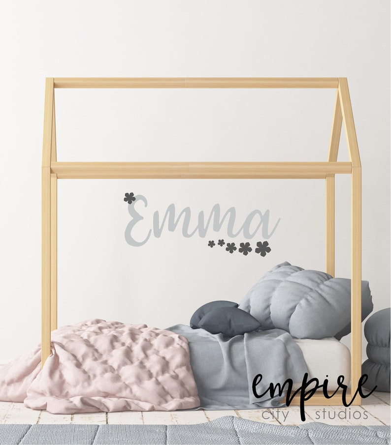 Girl Nursery Decal-Flower Name Decal-Name with Flowers-Girls image 0