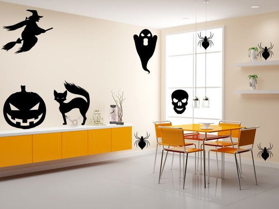 Witches-Ghosts-Black Cats-Spiders and Skulls Halloween Decals-Halloween Stickers-Happy Halloween-Halloween Decorations-Scary Stickers