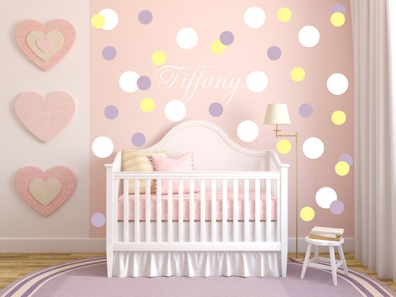 Mini circle wall decals, Polka Dot Decals, Girls Nursery, Girls wall decals, Bubbles, Custom Name Vinyl Decals, Geometric Wallpaper Patterns
