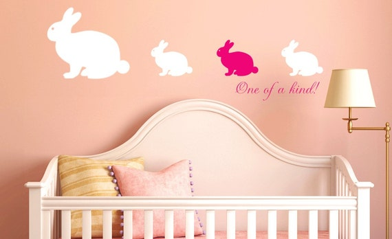 Bunny Decals Animal family Bunnies Girls or Boys Nursery Rabbit Vinyl Decals Wallpaper Pattern