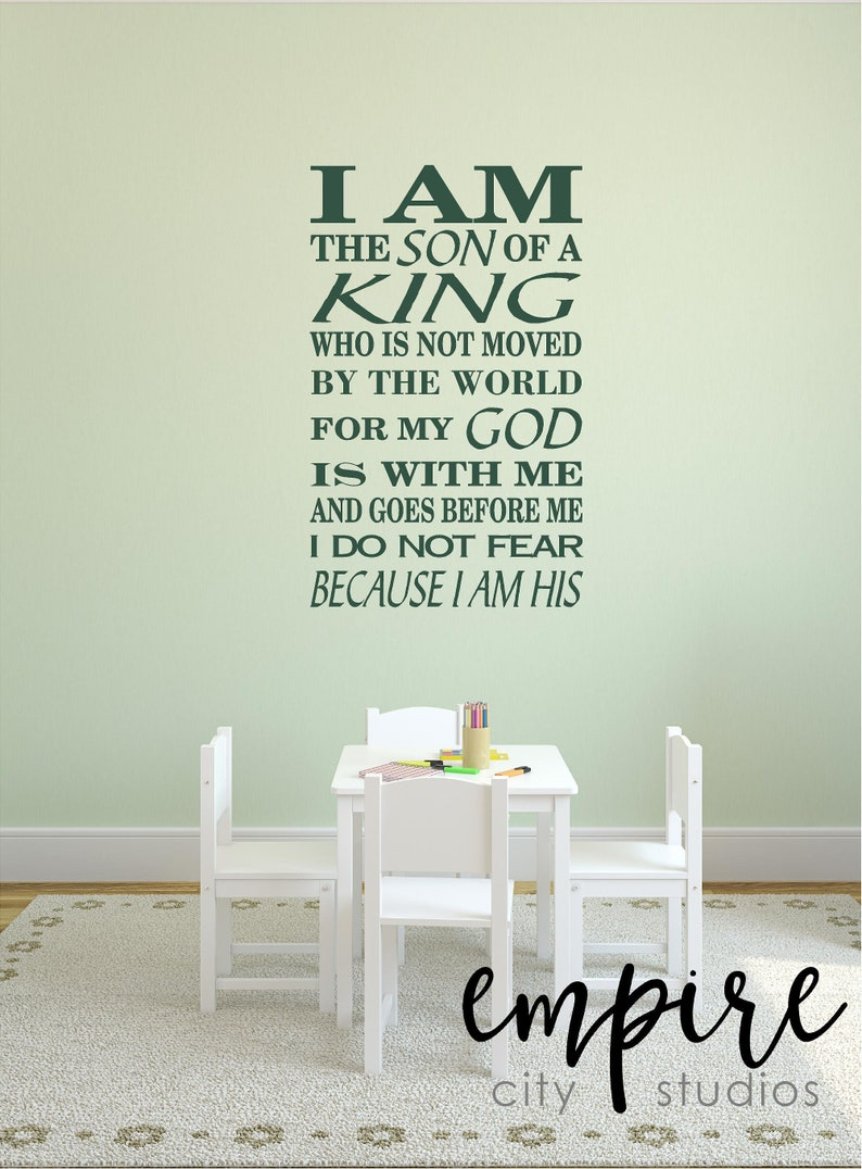 I Am The Son of A King Decal-Biblical Verses-Spiritual image 0