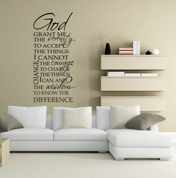 Serenity Prayer  Wall Decal Vinyl Typography God Grant Me the Serenity