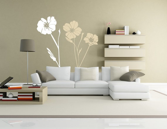 Vinyl Decals Large Poppy Wall Decal, Flowers Decals // 2 COLORS