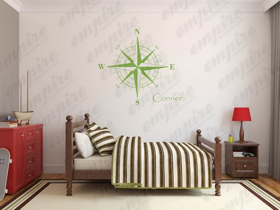 Personalized Nautical Compass Decal, Nautical Compass with Name, Baby Nursery Decals, Nautical Compass Rose Vinyl Wall Decal, holiday gifts