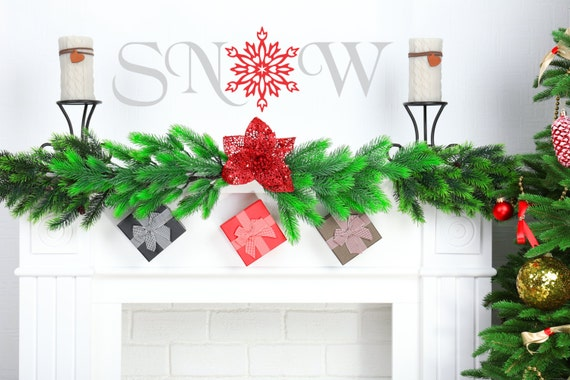 Snow Christmas decals-holiday decals-word decals-Snowflake decals-Snow Flakes-Christmas wall decorations-Holiday Decor-Xmas Decorations