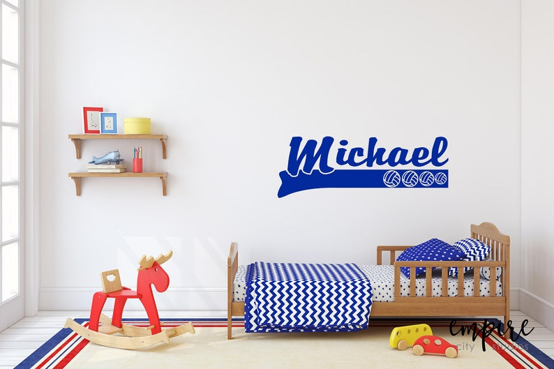 Volleyball Name Decals-Name with Volley balls-Boys Nursery image 0