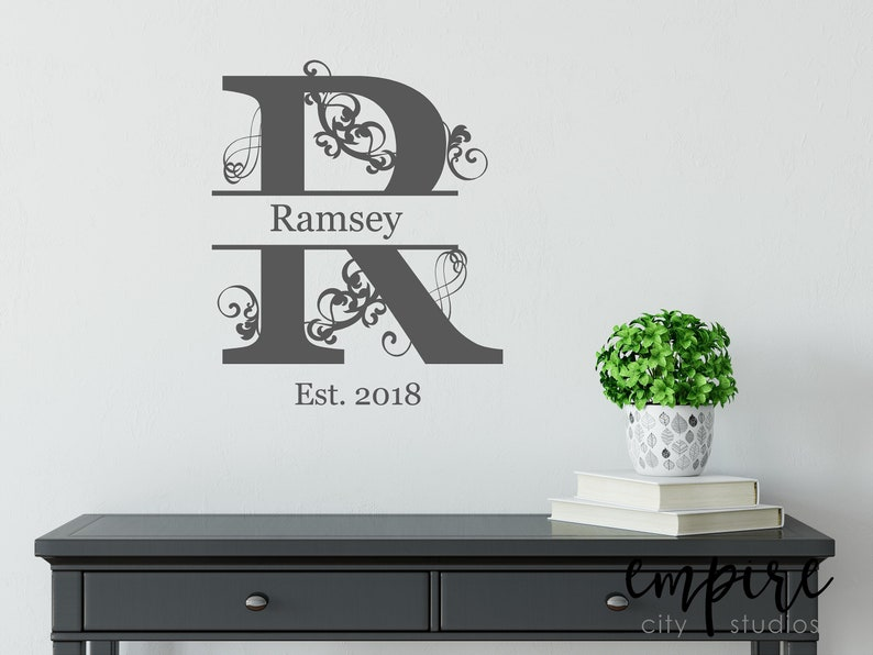 Family Name with Flourish Decal-Custom Name Decal-Family image 0