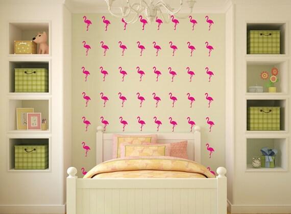 Pink Flamingo Bird Decals, Tropical Bird Decals, Beach Decals Wall Decals Beachy Vinyl Decals