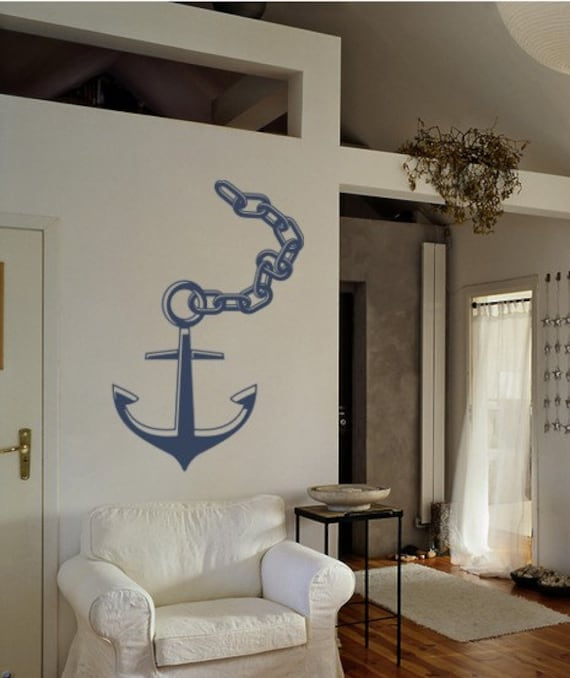 Anchor with Chain Decal Nautical Wall Art
