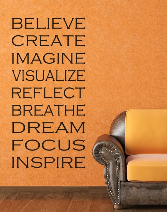 Yoga Decals Inspiration Wall Decal Words of Inspiration, Meditation, Subway Art, Typography
