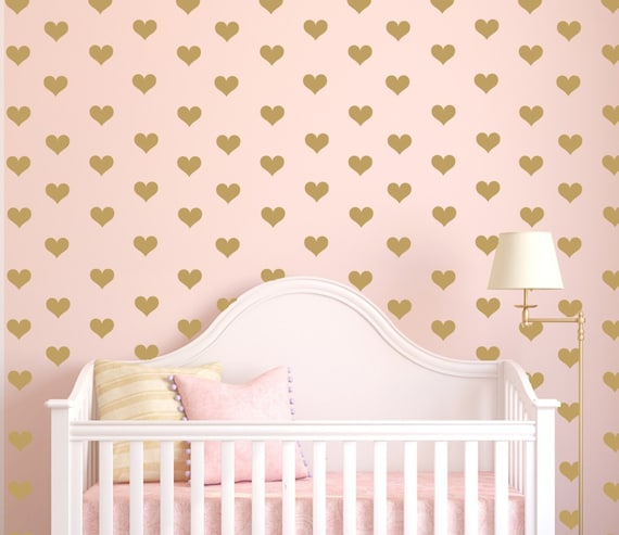 Mini Heart Decals, Gold Hearts, Tiny Hearts Sticker Wall Art, Mini Hearts Vinyl Decals, Small heart decals