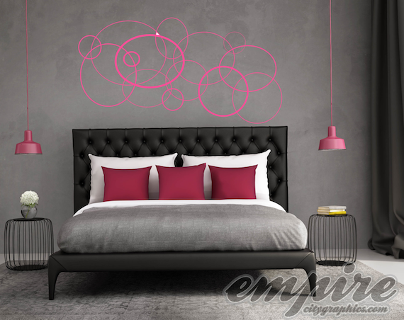 Geometric Circles Wall Decal, Circles Art wall decal, Bubble Decals