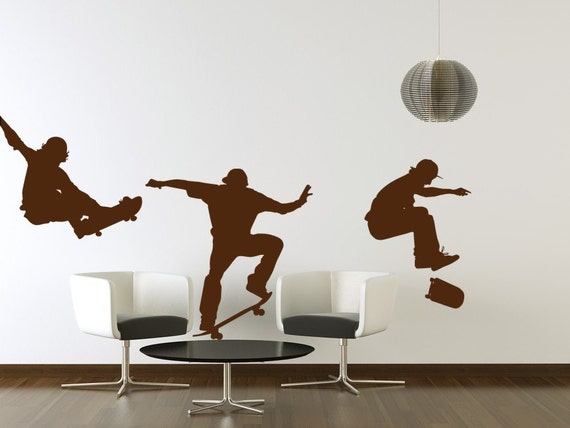 Skateboarders Vinyl Decals / Skate tricks Wall Vinyl