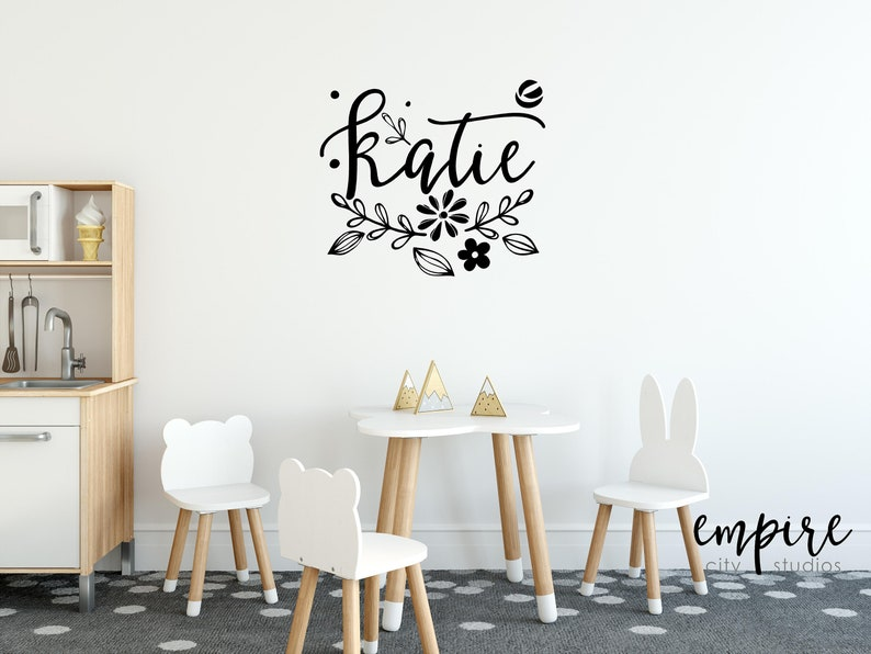 Floral Name Decal-Flower Personalized Name-Girls Nursery Wall image 0