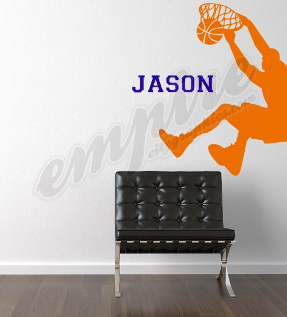 Basketball wall decal, Custom Name Personaization decal, BBall player, Hoops, Baller