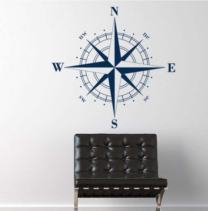 Compass Rose Nautical Vinyl Wall Decal, Christmas decals, Holiday ...