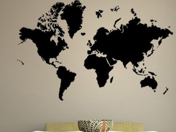 World Map Vinyl Decal Wall Mural Christmas Gifts