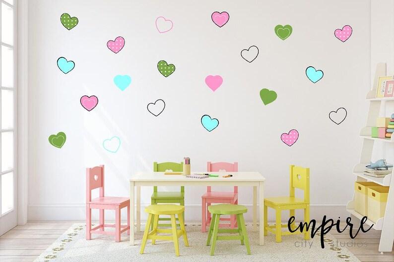 Cute Hearts Wall Decal-Mini Heart Vinyl Decals-Girls Wall image 0
