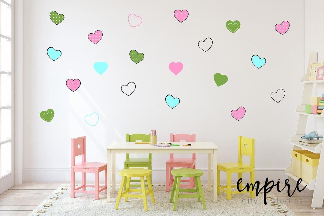 Cute Hearts Wall Decal Mini Heart Vinyl Decals Girls Wall Decor