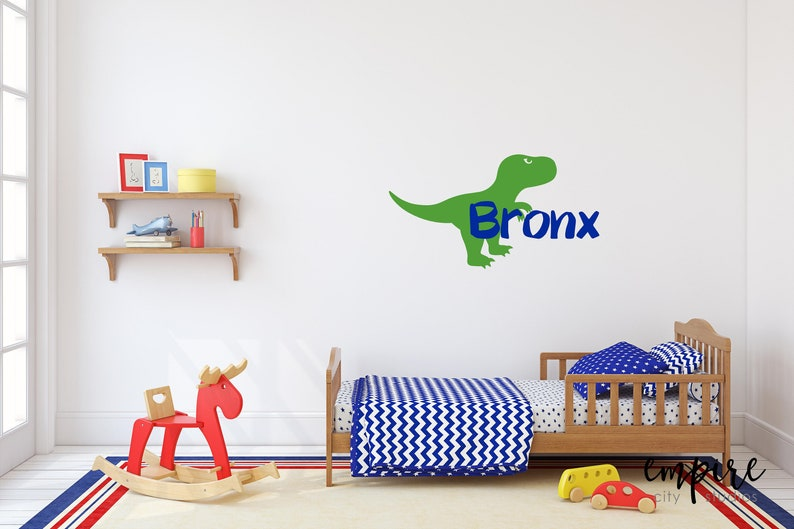 Kids Stickers-Boys TRex Name Decal-Dinosaur Name image 0