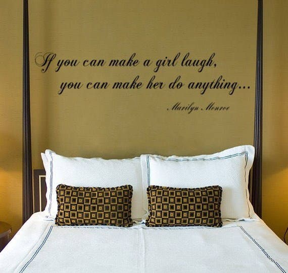 If You Can Make a Girl Laugh quote, Marilyn Monroe Wall Decal, Vinyl Wall Decal Sticker Art Quote, Marilyn Momroe quotes