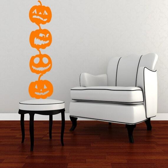 Pumpkin Vinyl Wall Art Decals 4 Pack Halloween Decor