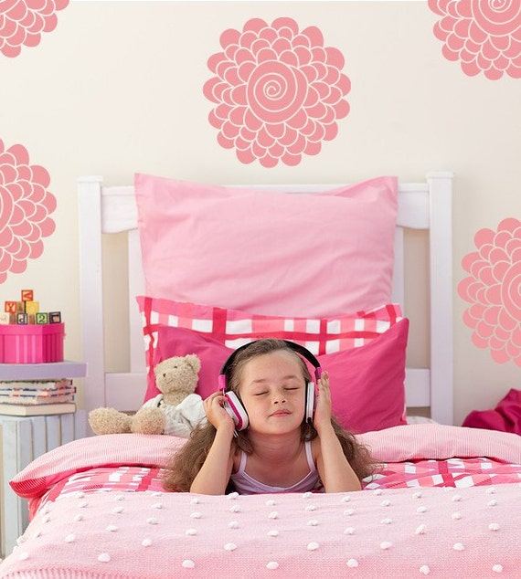 Vinyl Decal Wall Art Sticker Blossom Swirls, Flower Swirl Decals, Girls Floral Decals, Little Girls Flower Stickers